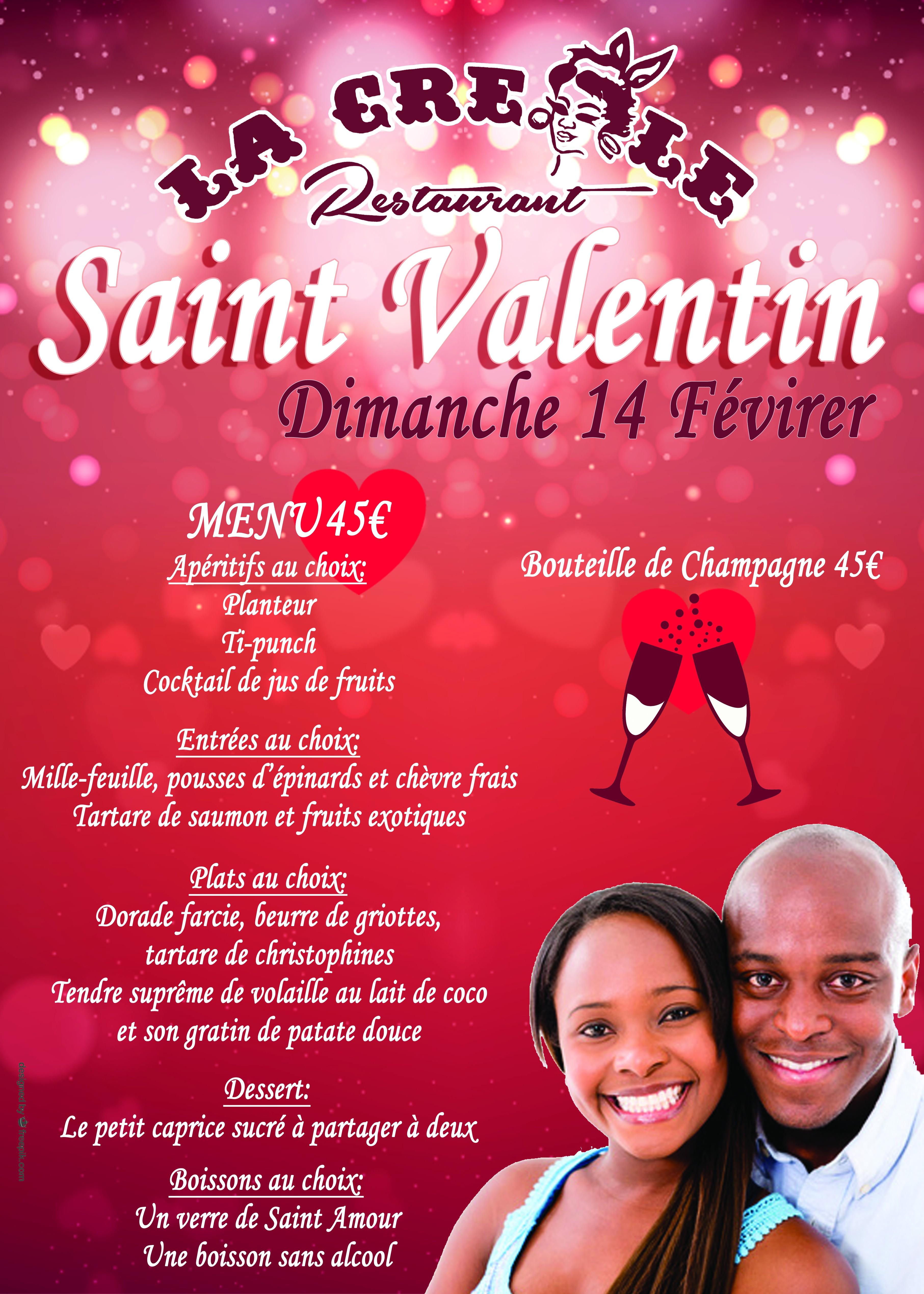 SOIRÉE SAINT VALENTIN AU RESTAURANT LA CRÉOLE PARIS 14