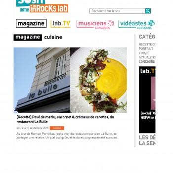 Les inRocKs lab : [Recette] Pavé de merlu, encornet & crémeux de carottes, du restaurant La Bulle © 2015 Les Inrocks