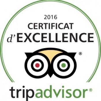 Certificat d'Excellence 2016 TripAdvisor
