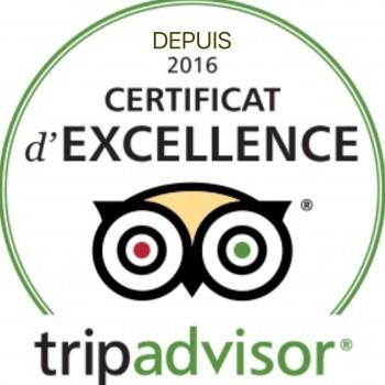 Certificats d'Excellence TripAdvisor 2016, 2017, 2018 et 2019