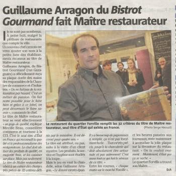Article journal Nice Matin remise du titre maître restaurateur