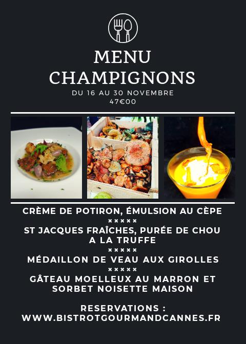 Menu Champignons du 16 au 30 Novembre 2019
