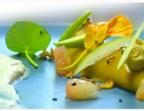 Photo Roulé de Crabe et Curry en gelée de Concombre et Pomme verte,  Pamplemousse et sauce Yaourt-citron vert - LE DOMAINE DU SEUDRE
