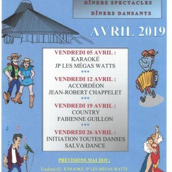 NOS SOIRÉES A THÈME AVRIL 2019