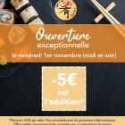 OUVERTURE EXCEPTIONNELLE LE VENDREDI DE LA TOUSSAINT