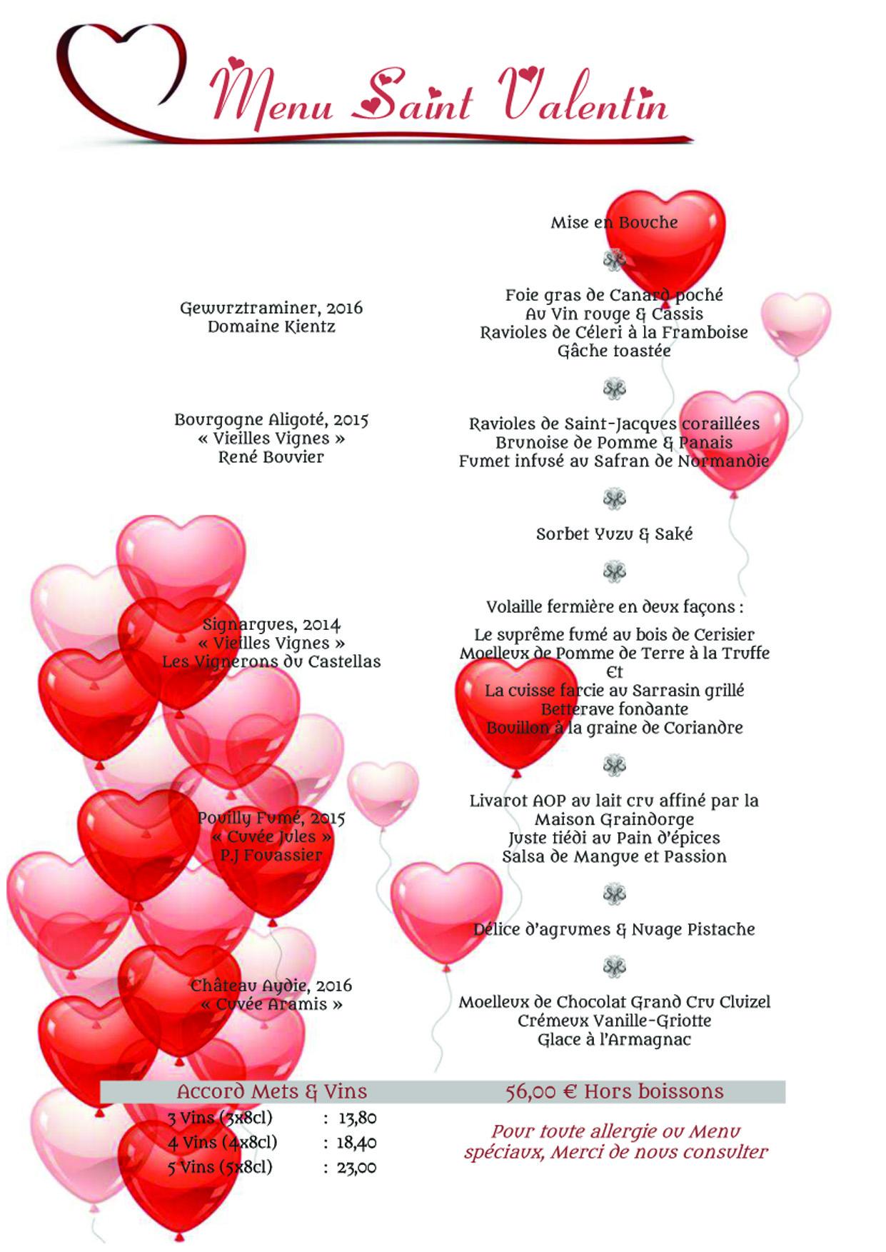 Menu de la Saint Valentin