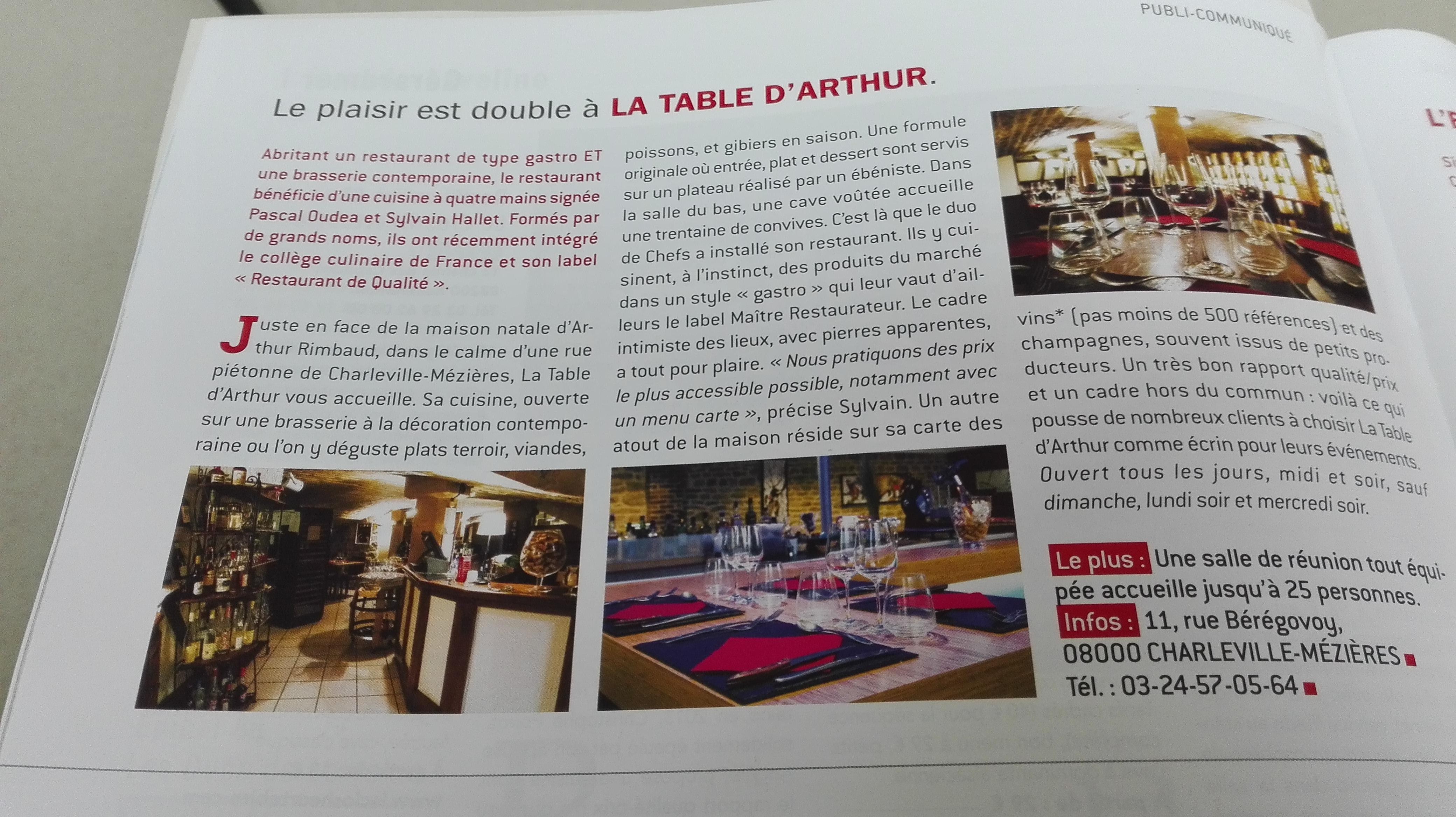 A propos charleville m zi res la table d 39 arthur - Restaurant la table d arthur charleville ...