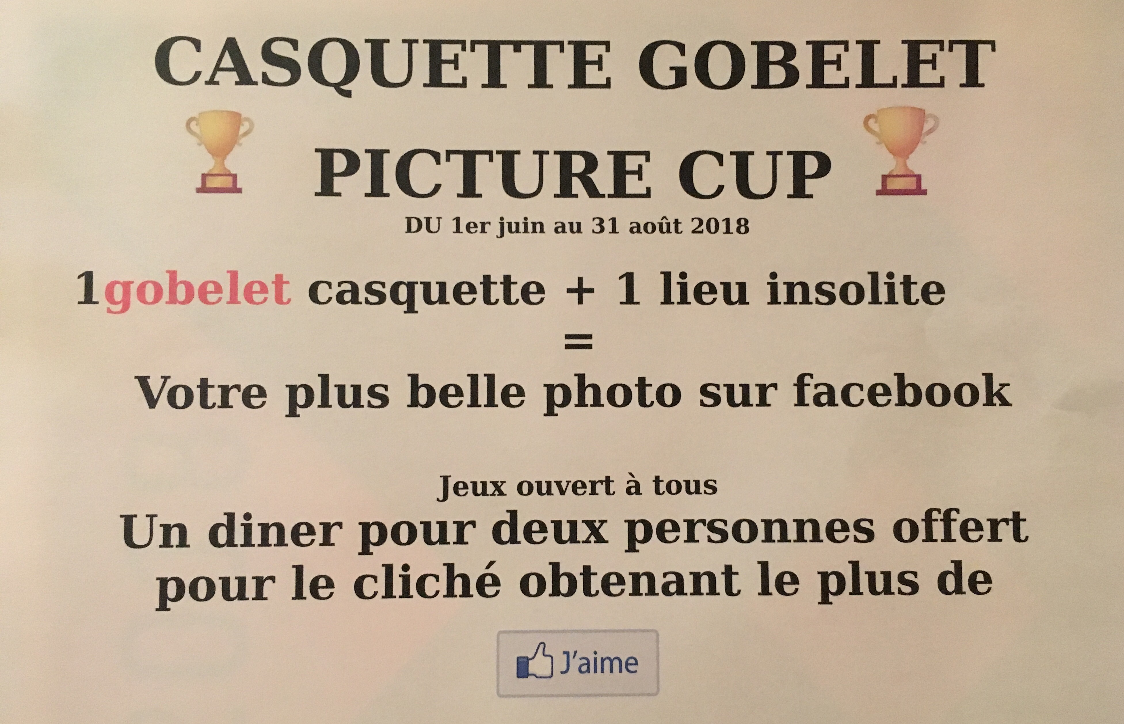 Gobelet concours photo