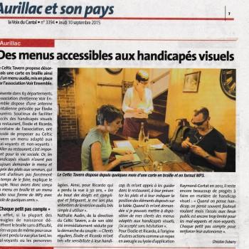 LA VOIX DU CANTAL - Des menus accessibles aux handicapés visuels