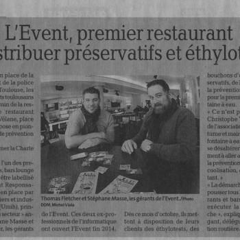 La Dépêche - Event premier restaurant à distribuer préservatifs et éthylotests