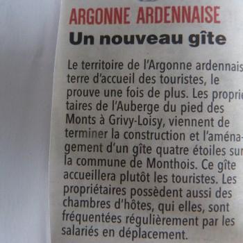 Un nouveau gîte dans l'Argonne Ardennaise