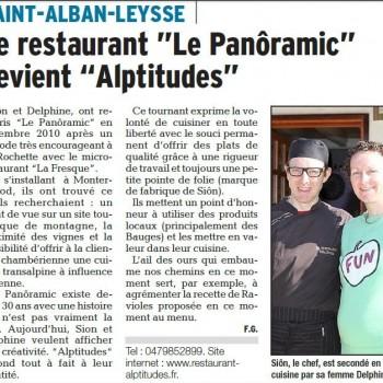 """Le restaurant """"Le Panôramic"""" devient """"ALPTITUDES"""""""