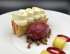 Photo Tarte fine aux pommes, souvenir de Urt, crème Fontainebleau au foin - l'Altévic