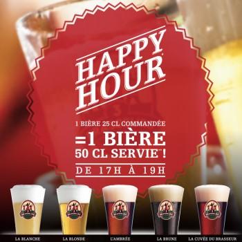 Happy Hour - 17 à 19 H - 7j/7- Une 25cl commandé, Une 50cl servie