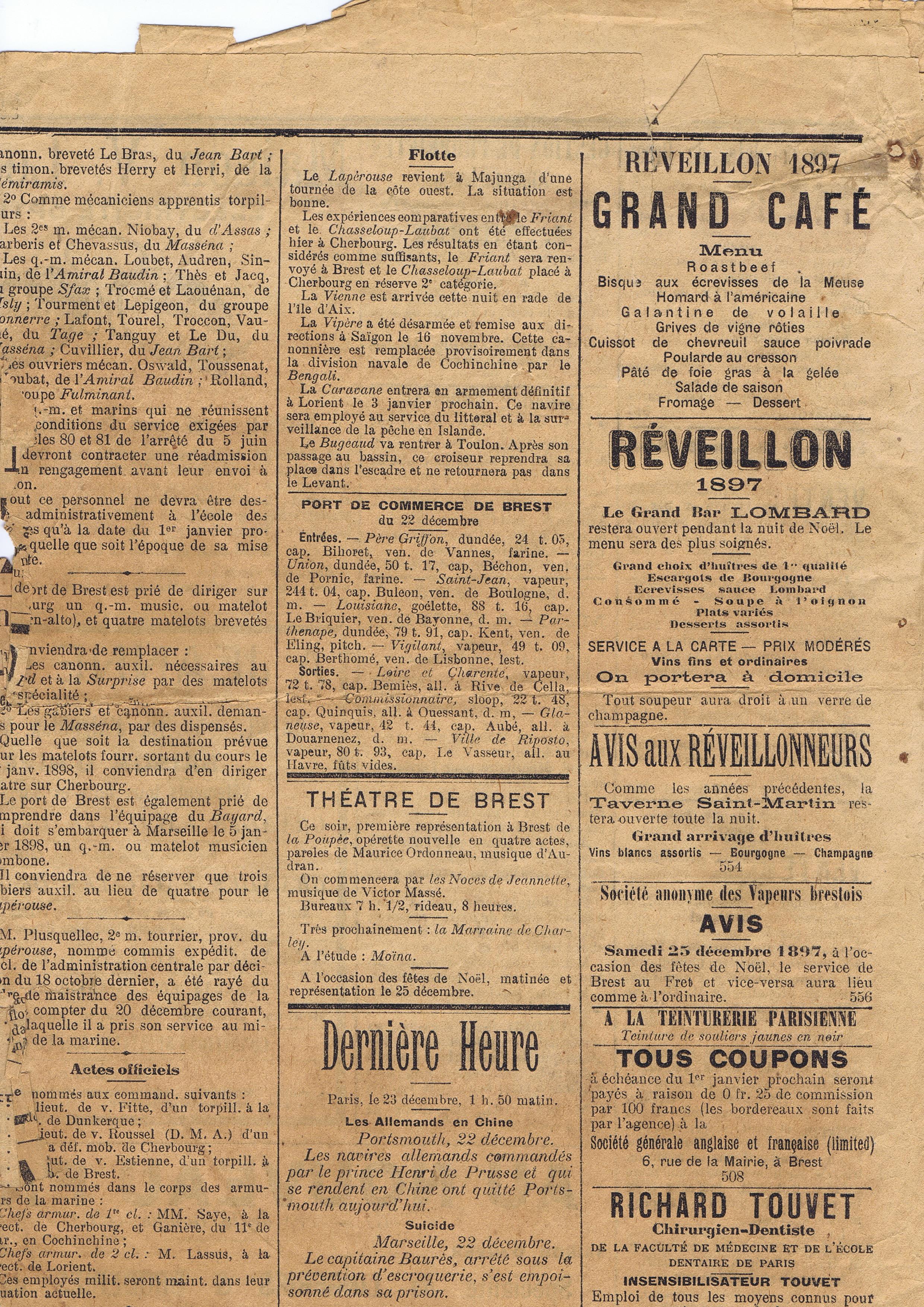 On parle de nous restaurant taverne saint martin brest for Article de restaurant