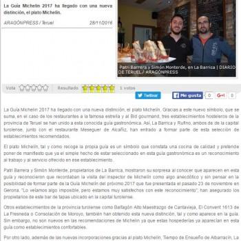 Restaurante Rufino incluido en la guía Michelín