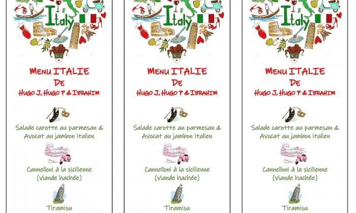 menu Italien 2019