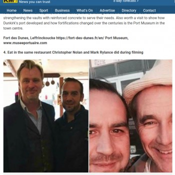 "KENTONLINE : eat in the same restaurant christipher nolan and Mark Rylance did during filming ""dunkirk"""