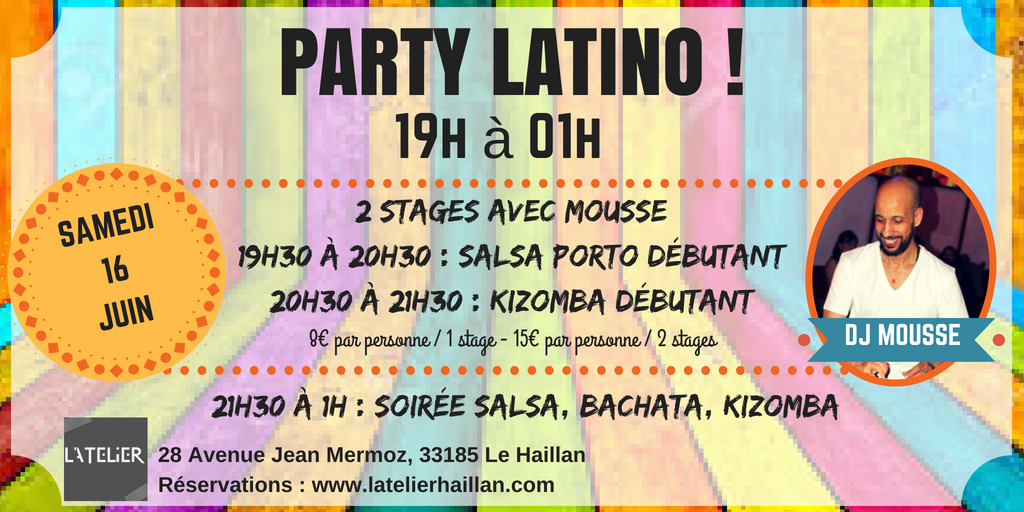 Party Latino avec Mousse & 2 Stages Débutants !