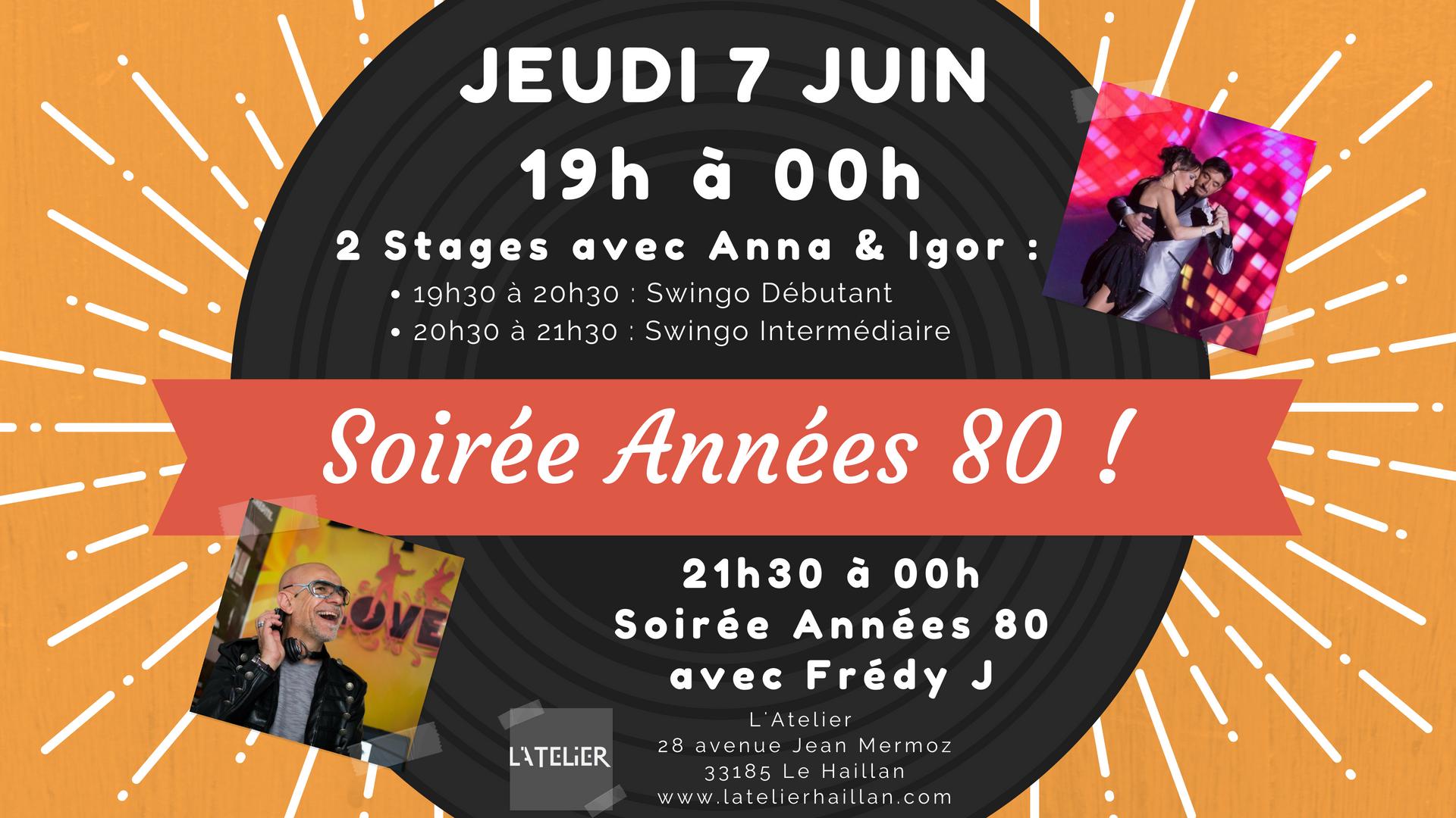 Soirée Années 80's avec Frédy J - 2 Stages Swingo avec Anna & Igor