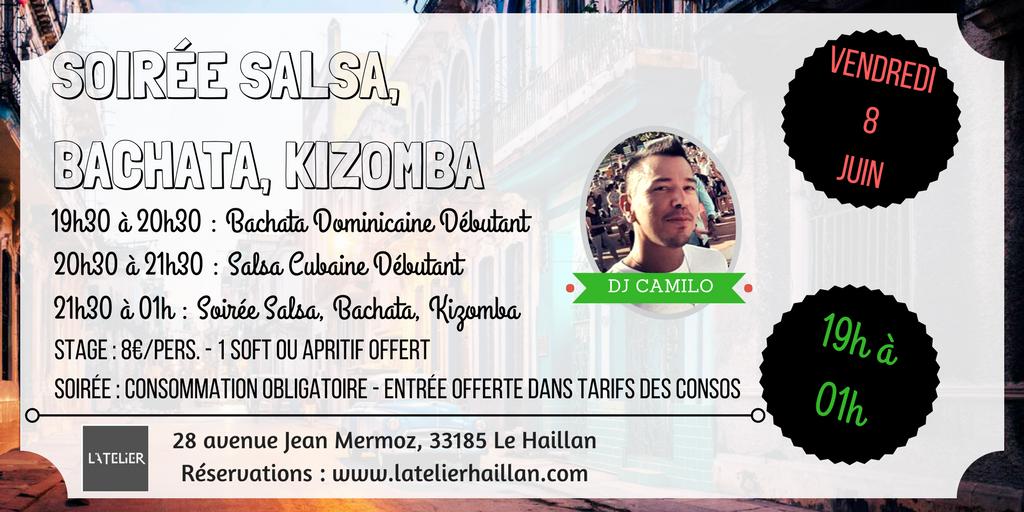 Soirée Salsa, Bachata, Kizomba avec Camilo & 2 Stages Débutants