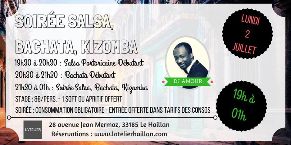 Soirée Salsa, Bachata, Kizomba avec DJ Amour - 2 Stages Débutants