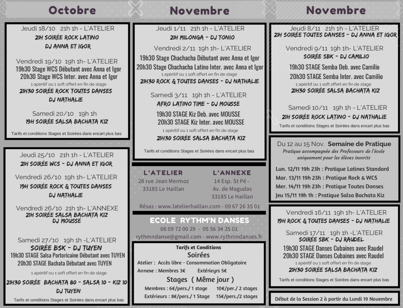 Programmation des soirées du 18 Octobre au 16 Novembre