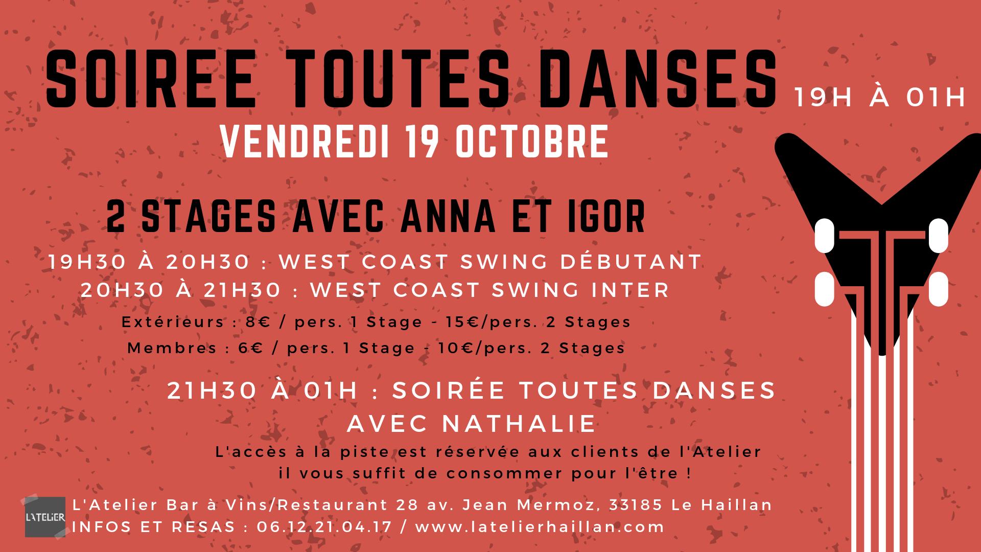 Soirée Toutes Danses avec Nathalie - 2 Stages WCS