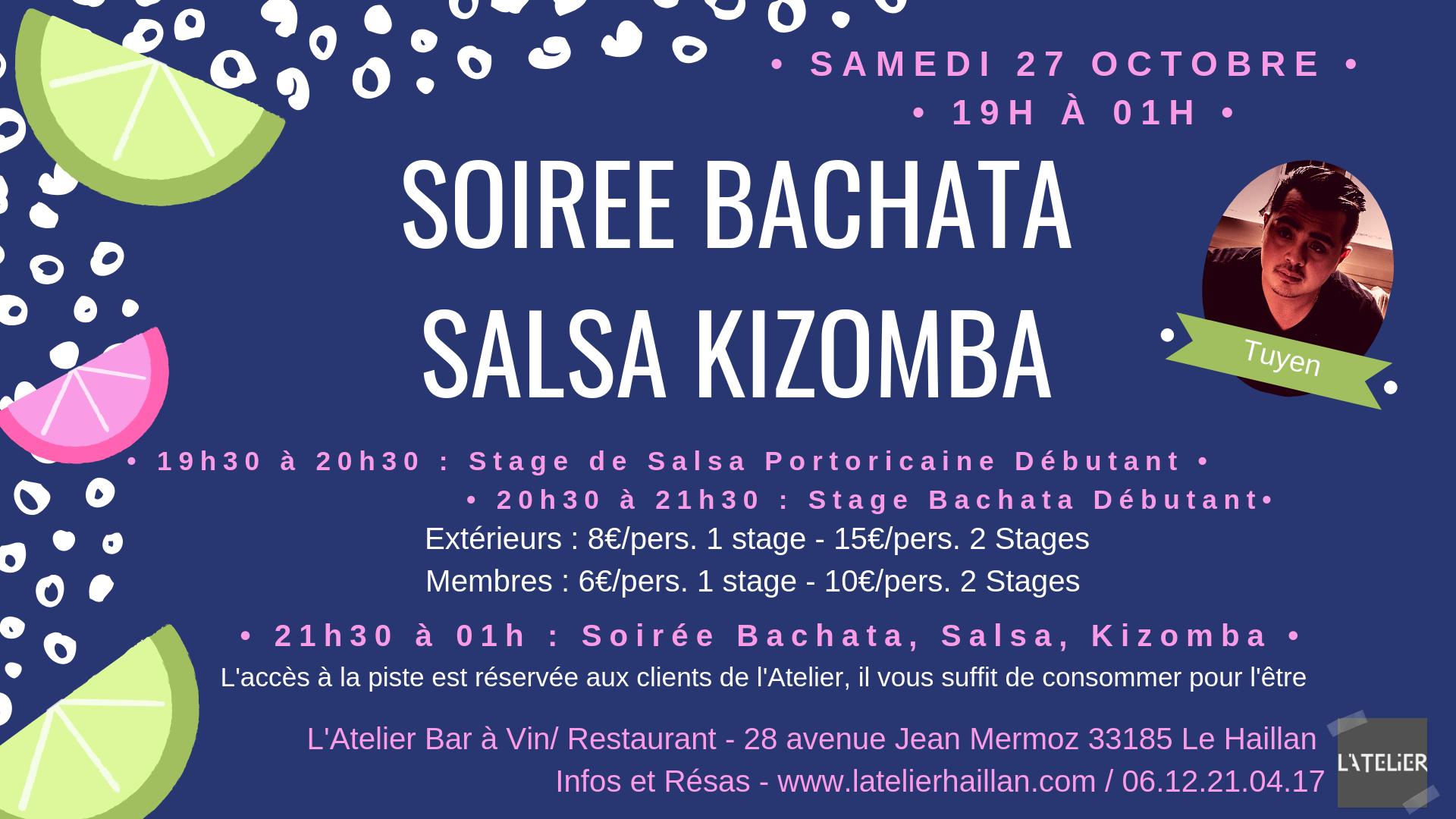 Soirée Salsa, Bachata, Kizomba avec Tuyen - 2 Stages