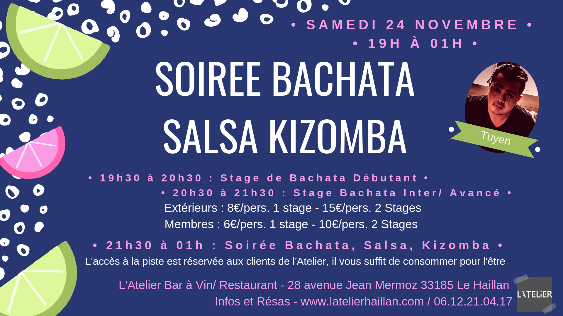 Soirée Bachata, Salsa et Kizomba avec Tuyen - 2 Stages de Bachata