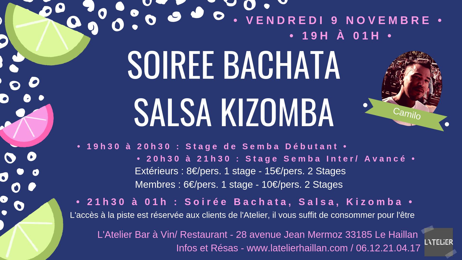 Soirée Salsa, Bachata, Kizomba avec Camilo & 2 Stages de Semba !