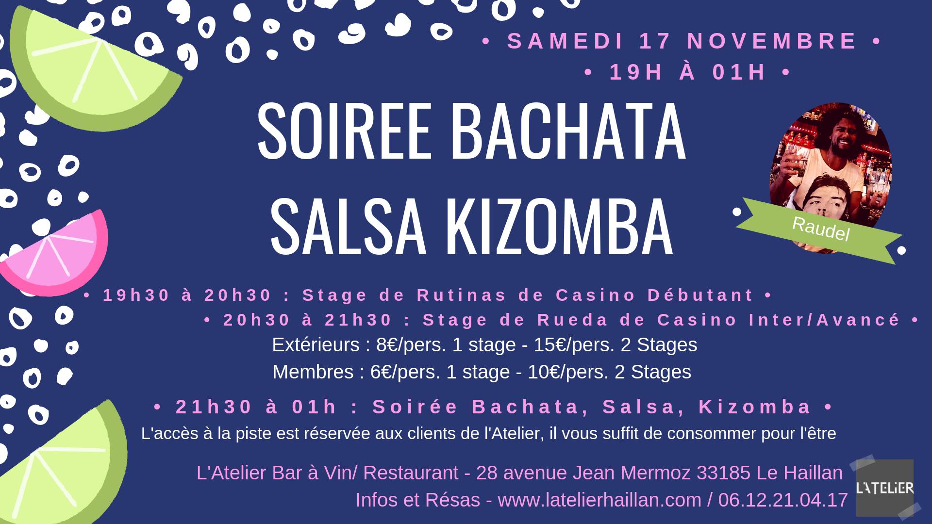 Soirée Salsa, Bachata, Kizomba avec Raudel - 2 Stages