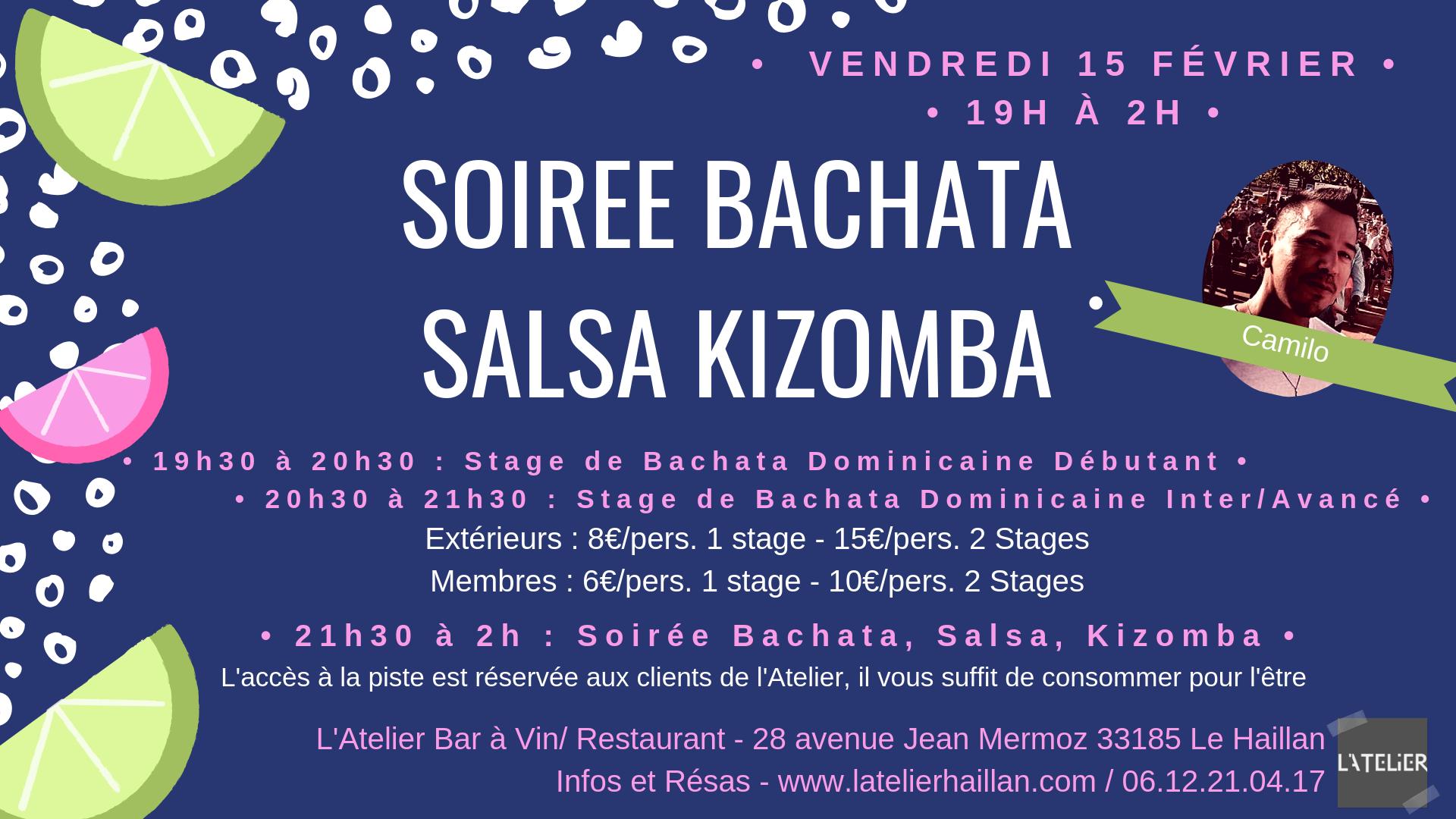 Soirée Salsa, Bachata, Kizomba avec Camilo & 2 Stages !