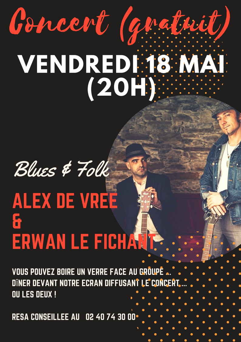 CONCERT Blues avec 'ALEX DE VREE & ERWAN LE FICHANT' - VENDREDI 18 MAI 20H