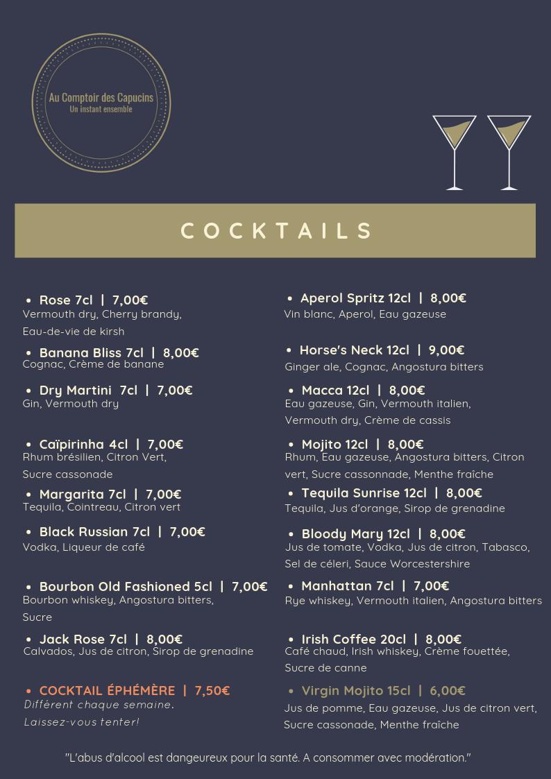 Lancement de notre carte de cocktails