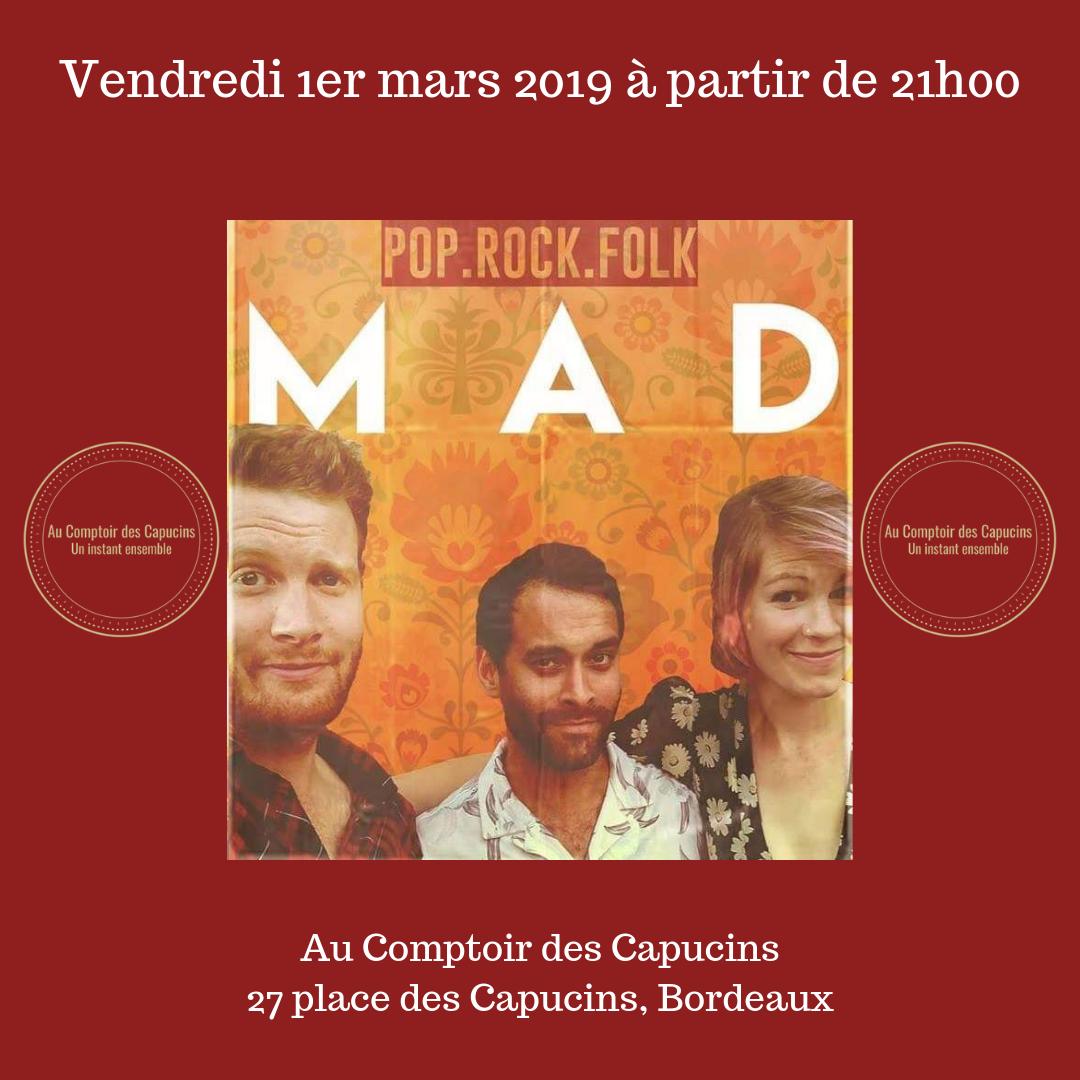 Au Comptoir des Capucins reçoit le groupe de musique MAD