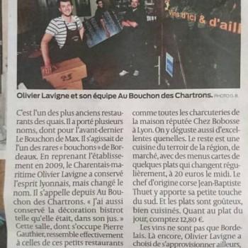 Au Bouchon des Chartrons dans la rubrique La Table du Sud-Ouest !