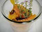 Photo Tajine d'agneau aux fruits secs, semoule et carottes aromatiques. - Le stras'