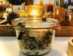 Photo Risotto Arborio aux éclats de marrons, gambas grillées et copeaux de parmesan. - Le stras'