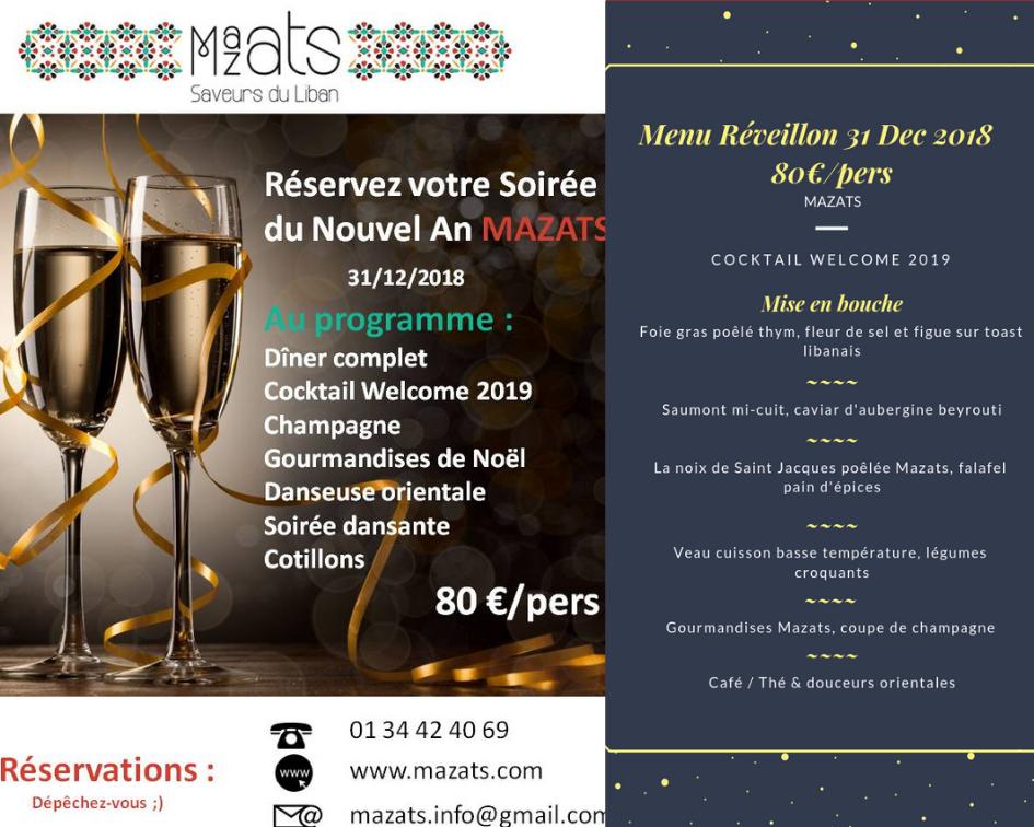 Soirée Réveillon Mazats 2019 - dîner, cotillons et danseuse orientale