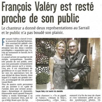 """""""François Valéry est resté proche de son public"""""""