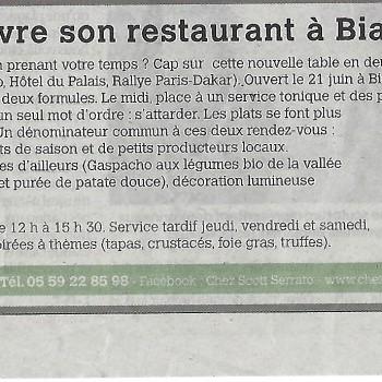Scott Serrato ouvre son restaurant à Biarritz