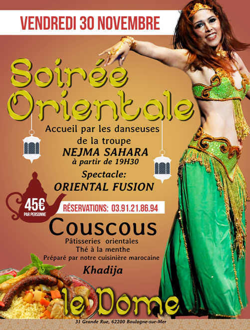 Soiree orientale Bar & Dinner  Vendredi 30 novembre 2018