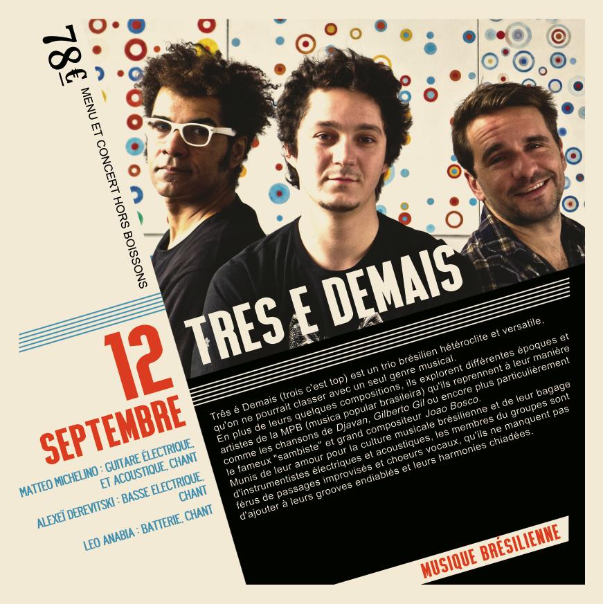Soirée Musique Brésilienne du 12 Septembre 'Treis e Demais'