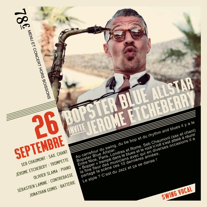 Soirée Jazz du 26 Septembre Bopster Blue Allstar