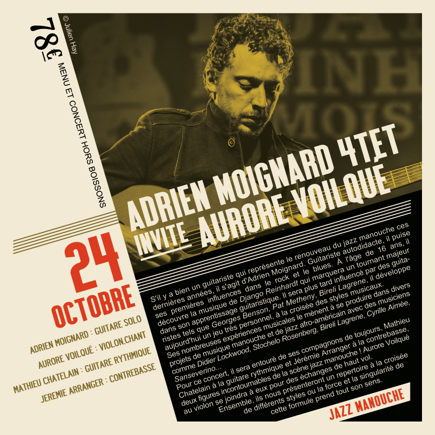 Soirée Jazz du 24 Octobre Adrien Moignard invite Aurore Voilqué