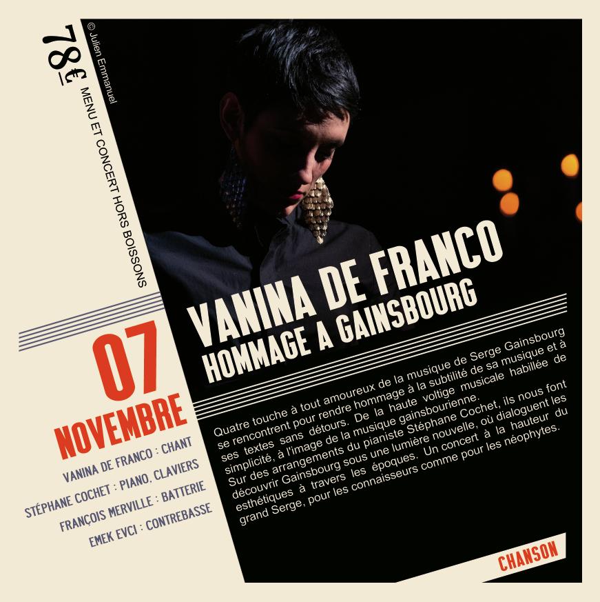 Soirée Vanina de Franco  du 7 Novembre hommage à Serge Gainsbourg