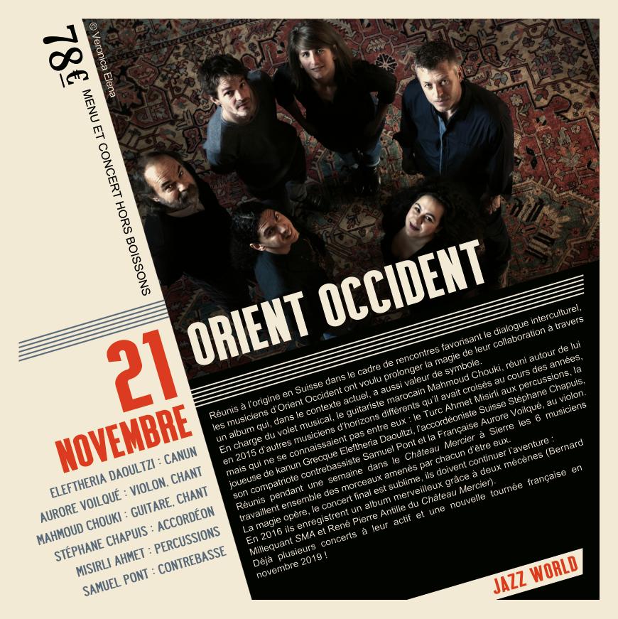 Soirée musique du monde du 21 Novembre Orient Occident