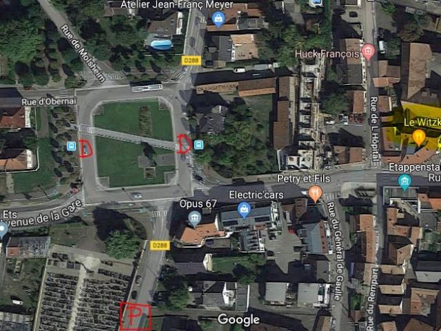 Restaurant Alsacien à Erstein Le Witzknuppe DESSERTE (D en rouge) PASSAGERS (100m) ET PARKINGS (P en rouge) AUTOCARS PROCHES DU RESTAURANT
