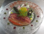 Photo Salmon Gravelax marinated in beet, salad with crunchy vegetables and slice of Black radish mousse *       - Chez fred